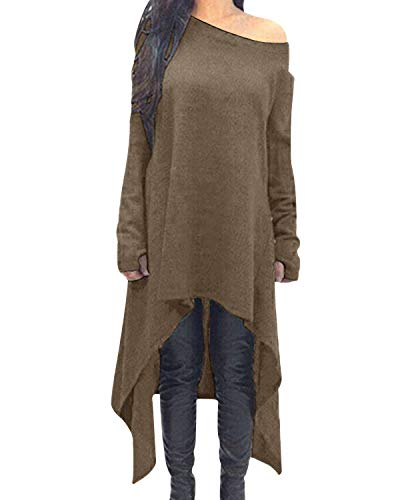 ZANZEA Women's Asymmetric Hem Long Sleeve Casaul Loose Hoodies High Low Drop Shoulder Longline Sweatshirts Jumper Pullover Tunic Tops 1-Brown S