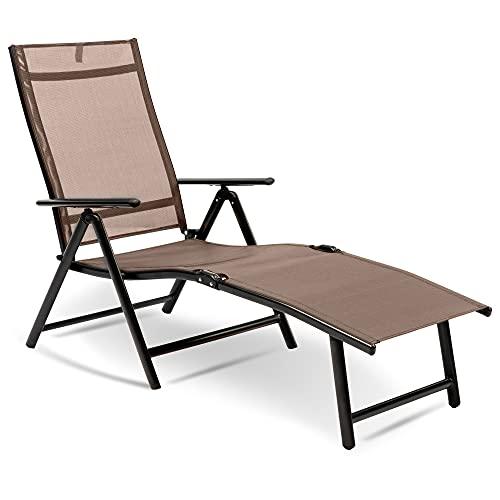 MaxxGarden Tumbona plegable – Tumbona de sol plegable – Silla de camping – 190 x 58 x 85 cm – Color marrón