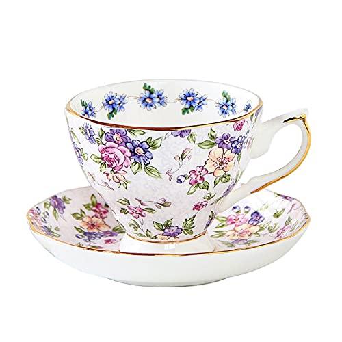 XDYNJYNL Taza de café de porcelana y platillo, 6 oz/170 ml American Afternoon Copas de coco Taza de leche con asa Tazas de desayuno, vasos de piña