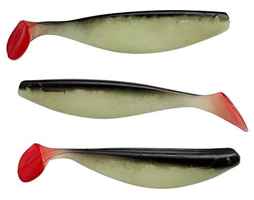 """SANDAFishing Gummifische Xtra-Soft 6"""" - ShadXperts 3X 16cm für Hecht Zander Wels Huchen Raubfisch Gummi Köder Angeln Angel Zubehör Angelset Fishing Set Lures Angelzubehör (selbstleuchtend/schwarz)"""