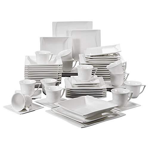 MALACASA, serie Carina, 60 piezas Juegos de Vajillas de Porcelana Vajillas completa 12 Tazas de Café cada una,12 Platillos,12 Platos Sopa y 12 Platos planos para 12 Personas