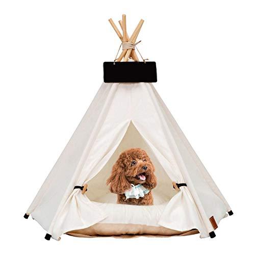 Pet Teepee Dog (Puppy) & Cat (Kitten) Bed - Tienda De Campaña Plegable Portátil Para Mascotas Para Perros Pequeños, Gatos, Conejos De Tamaño Mediano - Lona Blanca Y Madera, Con Pizarra (con Cojín)