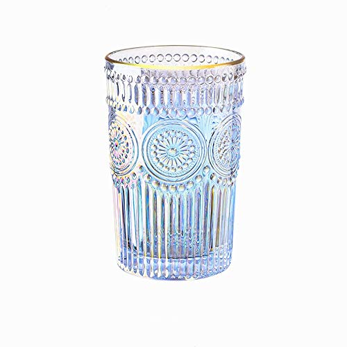 Iridescent Glass Embossed Drinking Glass Gold Wine Glass Baroque Transparent Unleaded Glass Wine Milk Juice Coffee Glass ,11.7oz,Makeup Brush Holder Pen Holder Thick Heat-resistant (Large)