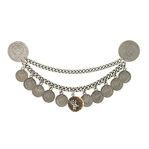 Charivari Trachtenschmuck-Anhänger mit Münzen - Hocherwertiger Trachtenschmuck für Oktoberfest Karneval & Fasching - Silber