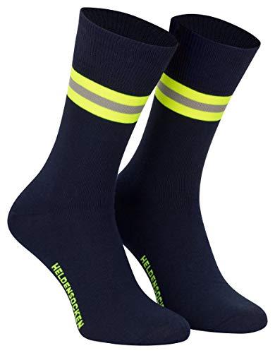 PACOTEX Heldensocken marineblau gelb-silber-gelb - Made in Germany - Paar - für Helden des Alltags bei Feuerwehr Rettungsdienst und Hilfsorganisationen (1, 39-43)