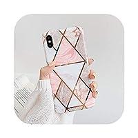 高級幾何大理石ケースfor iPhone 11プロ最大XR XS最大6 s 7 8プラスXメッキライン全身ソフト電話バックカバー-c-for iPhone XS Max