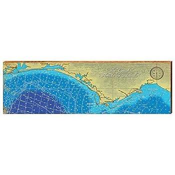 Florida Panhandle Map Home Decor Art Print on Real Wood  9.5 x30