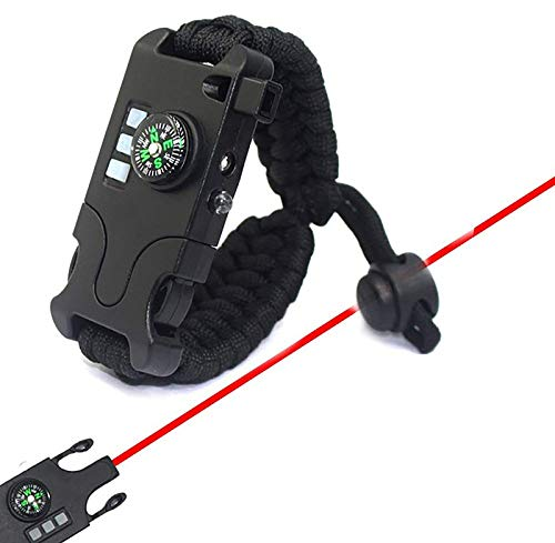 Survival Paracord Bracelet Tactical Emergency Equipment Kit with Laser Infrared SOS LED Flashlight Light Compass Rescue Whistle,A