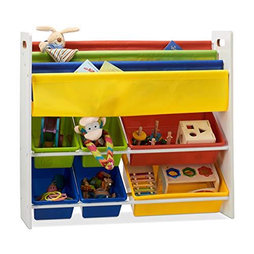 Relaxdays, buntes Kinderregal mit Regalboxen u. Hängefächern, Aufbewahrungsregal, Spielzeugregal, HBT 78,5 x 86 x 26,5 cm, Standard