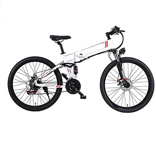Alta velocidad 26 '' de bicicleta eléctrica, bicicleta plegable eléctrica de montaña con 48V 10Ah de iones de litio, Suspensión 350 Motor prima completa y 21 Engranajes velocidad, marco de aluminio li