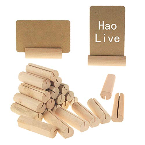 20pcs Wooden Business Card Stand Menu Holder Name Card Display Case Postcard Photo Picture Display Stand for Office Desk Tabletop Home Party Wedding Decoration