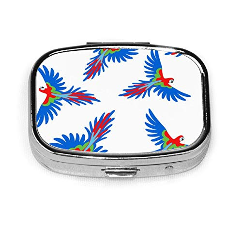 Colorful Parrot Custom Fashion Silver Square Pill Box Medicine Tablet Holder Wallet Organizer Case For Pocket Or Purse Vitamin Organizer Holder Decorative Box