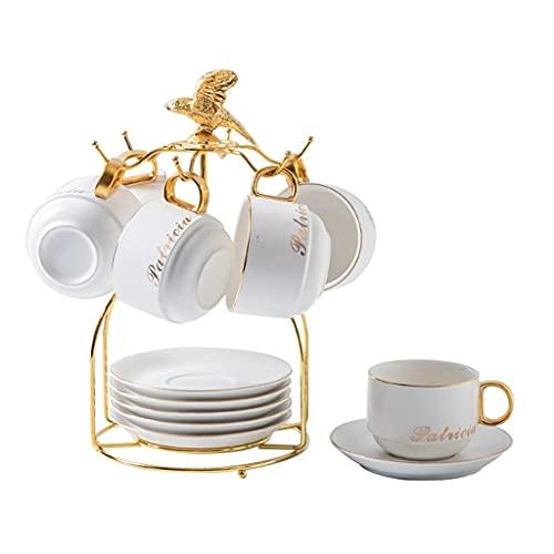 Latte Art Cup Inglés Taza de té de cerámica Cerámica Taza de café y platillo 12 piezas con 6 cucharas y 1 soporte, taza de espresso de porcelana europea y platillo, oficina de té de la oficina, taza d