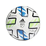 adidas MLS Club Soccer Ball, White/Solar Green/Glory Blue/Black, 3