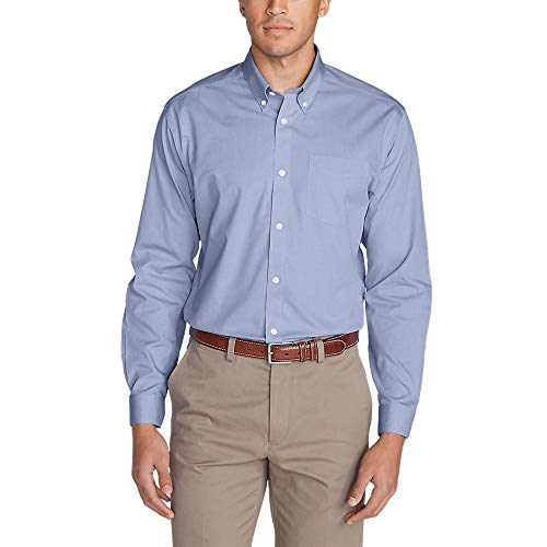 Eddie Bauer Men's Wrinkle-Free Classic FIt Pinpoint Oxford Shirt - Solid, Cornfl Cornflower (Blue)