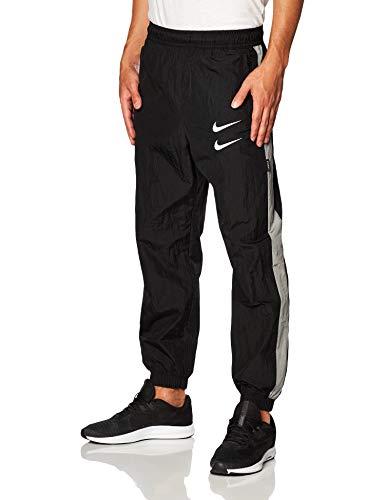 Nike Mens M NSW Swoosh Pant WVN Sweatpants, Black/Particle Grey/White, L