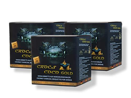 CROCS COCO Oro I Carbón de coco con larga duración I Carbón de barbacoa 26 x 26 mm I Poco cenizas I Baja generación de humo I Carbón natural sostenible I Cubo de carbón en calidad premium I 3 kg