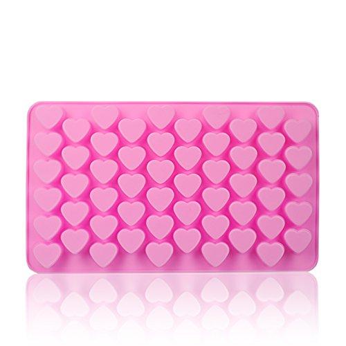 Ganzoo Silikon-Form 3D Herzchen, DIY Pralinen, Seife, Hunde-Kekse, Eiswürfel, Fondant, 55 Herzen, Farbe: pink