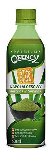 QEENCY Getränk mit Aloe 51% Aloe Vera Matcha Zitrone - 500 ml, natürlich, kalorienarm und vegan Hoher Vitamin C-Gehalt 24er Packung (24 x 500 ml)
