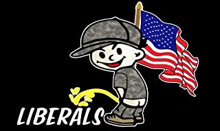 Pee on Liberals Pissing Decal USA Flag Patriotic Vinyl Sticker Camouflage Peeing boy