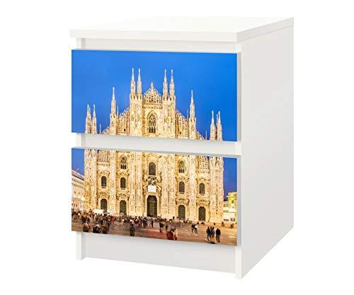Set Möbelaufkleber für Ikea Kommode MALM 2 Fächer/Schubladen Mailänder Dom Italien Kat21 Kathedrale Aufkleber Möbelfolie sticker (Ohne Möbel) Folie 25F359