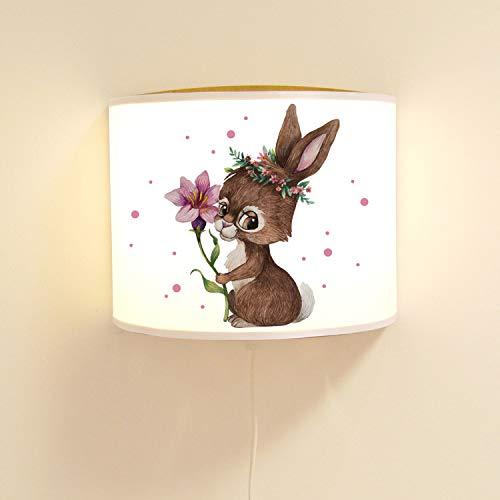 Ilka parey Applique Murale pour Chambre d'enfant Motif Lapin Mignon avec Lampe à Motif Fleur