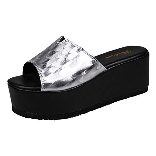 Summer Sandals Women Canvas Casual Slip-On Flat Shoes Color Breathable Sneakers Wedge Sandals Silver