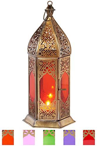 Orientalische Laterne aus Metall & Glas Basma Orange 24cm | orientalisches Windlicht | Marokkanische Glaslaterne für innen | Marokkanisches Gartenwindlicht für draußen als Gartenlaterne