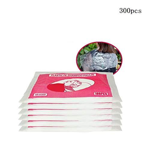 300 pcs blouse salon de coiffure jetable capes en plastique étanche Cheveux Tablier Salon Accessoire (53 * 40 cm)