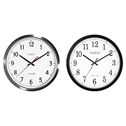 La Crosse Technology 404-1235UA-SS 14 Inch UltrAtomic Analog Stainless Steel Wall Clock & WT-3143A-INT 14-Inch Atomic Wall Clock, Black