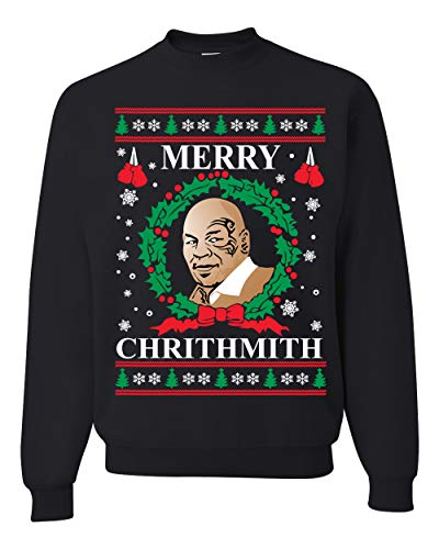 Wild Bobby Merry Chrithmith Mike Tyson Ugly Christmas Sweater Unisex Crewneck Sweatshirt, Black