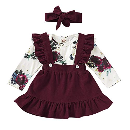 FYMNSI Conjunto de 3 piezas de ropa de 3 a 24 meses de algodón con volantes, diseño floral y falda con lazo.