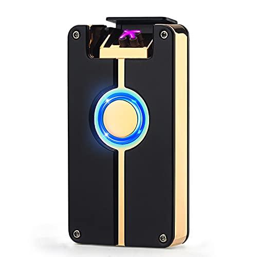 Mechero Electrico Encendedor USB Doble Arco Recargable y Resistente al Viento de Plasma sin Gas con Cable Control Tactil Portátil Caja Regalo para Vela,Beige