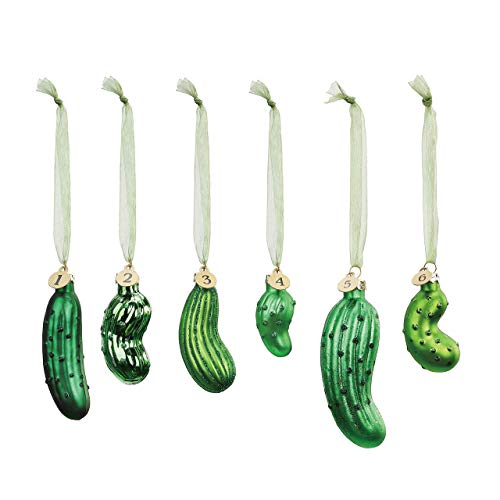DEMDACO Pickle Festive Green 4 x 2 Glass Holiday Decorative Hanging Ornaments Game