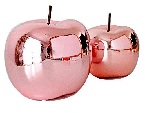 Glas Art Deko Apfel Set Aus Keramik Dekoapfel In Größen 15 cm 12 cm Moderne Keramik Wohnzimmer Figur Obst Skulpuren In 2er Set Statuen Deko Dekofiguren (Rosa Glänzend)