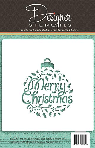 Merry Christmas Holly Ornament Cookie and Craft Stencil by Designer Stencils