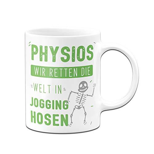 Tasse mit Spruch Physios wir retten die Welt in Jogging-Hosen - Geschenk für Physiotherapeut (Weiß-Grün)