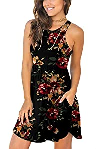 YUNDAI Women's Short Sleeve Casual Loose Plain Dresses Short Dress with Pockets XS Peony Flower Black by