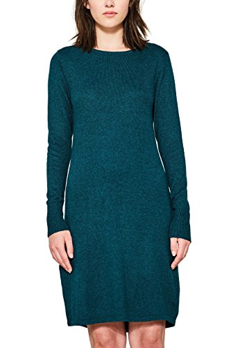 edc by ESPRIT Damen 087CC1E002 Kleid, Grün (Dark Teal Green 375), X-Small