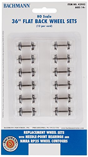 "Bachmann Trains 36"" FLAT BACK WHEEL SETS (12 per card) - HO Scale"
