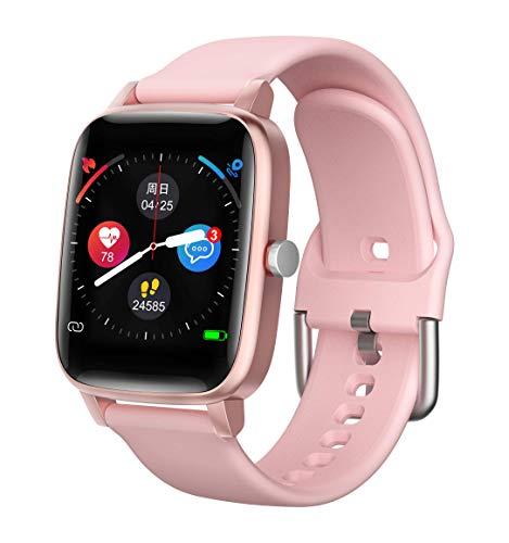 2021 DALIL Reloj Inteligente con Función de Seguimiento de la Salud y Deporte Medición de la Temperatura Corporal, Presión arterial, Frecuencia Cardíaca, etc. Para Android y iOS (Rosa)
