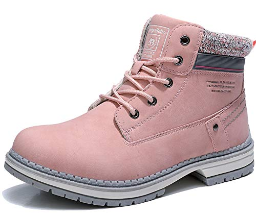 AX BOXING Women's Hiking Boots Leather Lace Up Anti-slip Work Ankle Boots Outdoor Trekking Shoes(Pink,Numeric_5.5)
