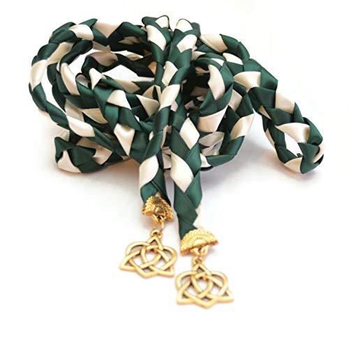 Hunter Green Gold Celtic Heart Knot Wedding Handfasting Cord #Handfasting #Handbinding #DivinityBraid #Celtic #Wedding #CelticKnot