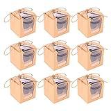 NUOBESTY 10 Cajas de Cupcakes Individuales de Papel Kraft para Cupcakes Cajas de Regalo Caja de Pastelería Muffins Portadores con Ventana para Fiesta de Envoltura de Panadería (Marrón