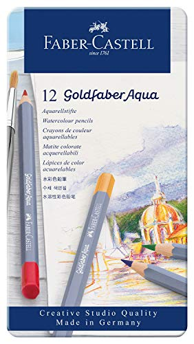 Faber-Castell Creative Studio Goldfaber Aqua Watercolor Pencils - Tin of 12 Colors, Multicolor
