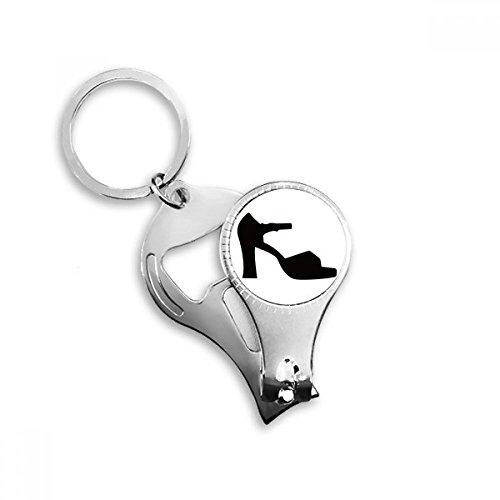 Dames Hoge hakken Zwart Silhouette Patroon Sleutelhanger Ring Multi-functie Nagel Clippers Flesopener Gift
