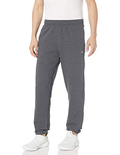 Champion Men's Powerblend Relaxed Bottom Fleece Pant, Granite Heather, L