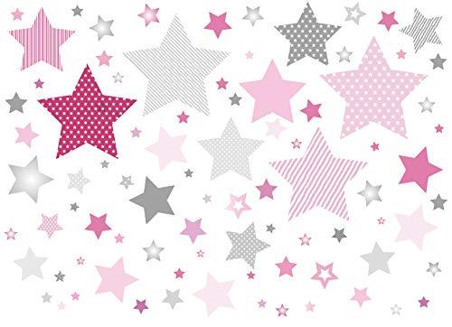 Anna Wand Wandsticker Stars 4 Girls ROSA/GRAU - Wandtattoo für Kinderzimmer/Babyzimmer mit Sternen - Wandaufkleber Schlafzimmer Mädchen & Junge/Wanddeko Baby/Kinder / 2 DIN A4 Bögen