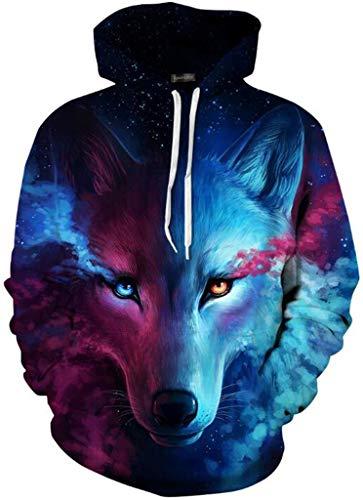 jeansian Herren Damen Junge Madchen Realistische 3D Digital Print Pullover Hoodie Mit Kapuze Fleece Sweatshirt LYM001_Blue_L/XL