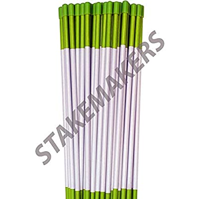 """Driveway Markers, Green, 10 Pack, 4' x 5/16"""", Snow Stakes, Plow Stakes, Reflective Tape, Bundle of 10 Driveway Markers"""